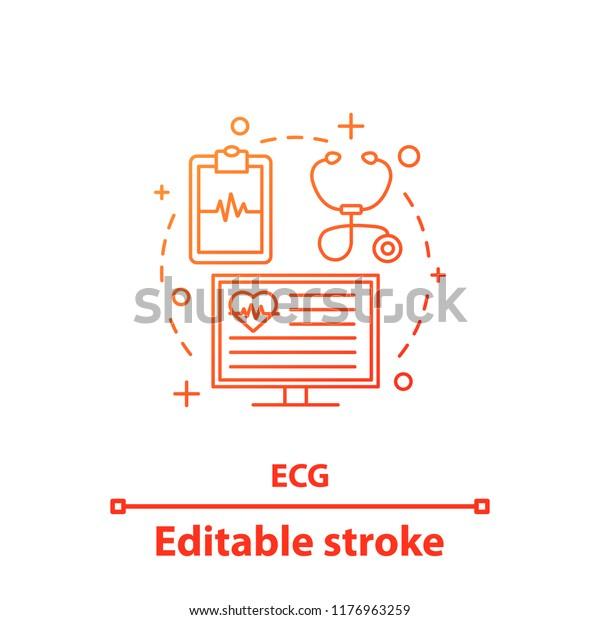 Ecg Concept Icon Electrocardiography Cardiology Idea Stock