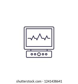ecg, electrocardiogram vector line icon