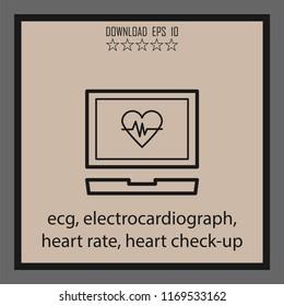 ecg, electrocardiograph, heart rate, heart check-up  vector icon