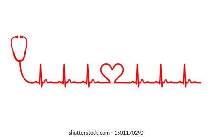 Ecg heart beat line with stethoscope. Vector illustration icon.