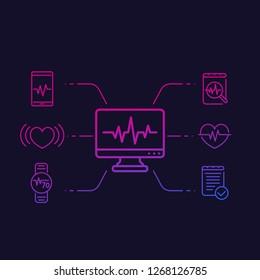 ecg, heart diagnostic, electrocardiography linear vector icons