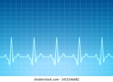 ECG heartbeat monitor, cardiogram heart pulse line wave. Electrocardiogram medical background.