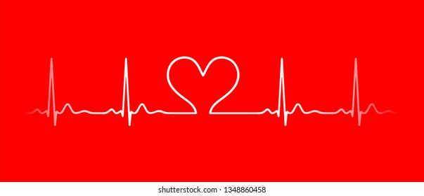 Ecg line vector. Heart beat monitor pulse line art icon for medical apps and websites. breathing and alive sign red love heart. Red Medic blood pressure , cardiogram, health EKG, ECG logo.
