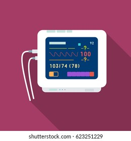 Ecg machine icon flat. Single medicine icon from the big medical, healthcare flat.