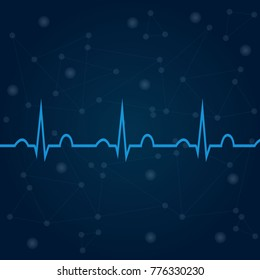 ECG on blue background with lines, dots, technology concept. Healthcare medical backdrop with heart cardiogram. For use in medical banners, posters, templates. Cardiology concept with pulse rate diagr