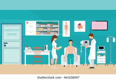 ECG Test or The Cardiac Test, cardiology center room interior with blood pressure monitor, healthy and medical flat design vector illustration.