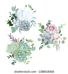 Echeveria blue, grey, mint succulents, white hydrangea, pale pink and lavender rose,greenery and eucalyptus vector design wedding bouquets.Trendy pastel dusty color collection. Isolated and editable