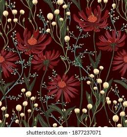 Echinacea, wild flowers hand drawn vector seamless pattern. Abstract botanical sketches of field plants. Colored vintage floral background. Design for wallpaper, fabric, prints, decor, textile, wrap.