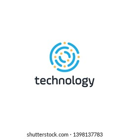 echnology logo simple tech design. modern icon for construction technology or logo template for digital communication concept