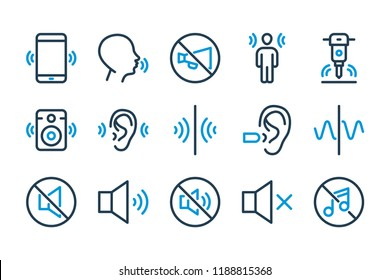 Echo and noise sound related line icon set. Vector icons of sound wave, speaker and hearing.