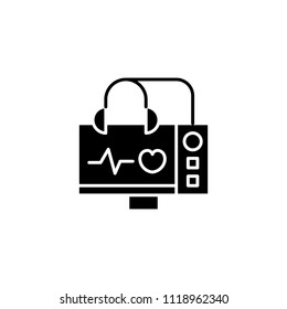 Echocardiogram of the heart black icon concept. Echocardiogram of the heart flat  vector symbol, sign, illustration.