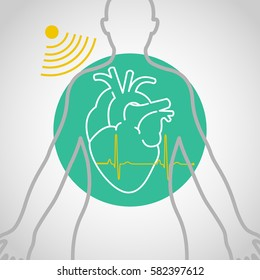 Echocardiogram vector logo icon design