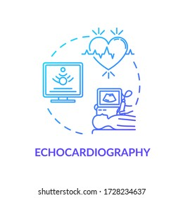 Echocardiography concept icon. Ultrasound heart screening idea thin line illustration. Cardiovascular disease diagnostics, cardiology. Vector isolated outline RGB color drawing