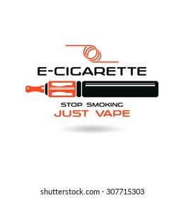 E-cigarette emblem. Color print on white background