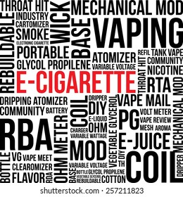 E-Cigarette word cloud theme in vector