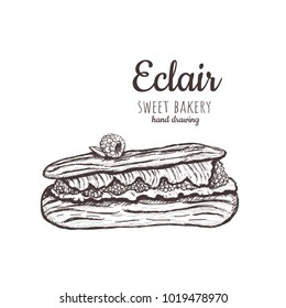 eclair cake. Eclair sketch. Eclair with raspberries. Delicious eclair cake Hand Drawing Vector Illustration