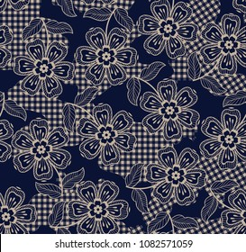 Eclectic fabric plaid seamless pattern with baroque ornament