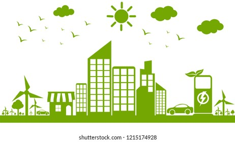 Eclectic green city concept with beautiful natural energy.