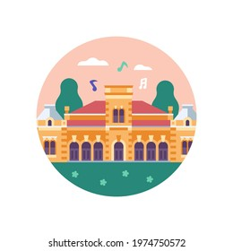 Eclectic historical palace circle icon inspired by Castle Edseg building in Novi Sad. Abstract french chateau illustration in flat design.