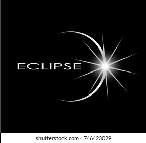 eclipse concept symbol on black background/ sun shine logo