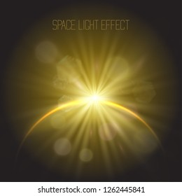 Eclipse golden miracle glowing vector spotlight effect set, star floodlight, projector rays with sun shining round halo. Astronomy mystic phenomenon, light energy crown with radial rays.