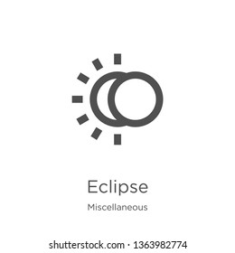 eclipse icon. Element of miscellaneous collection for mobile concept and web apps icon. Outline, thin line eclipse icon for website design and mobile, app development