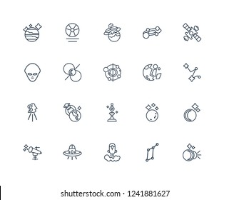 Eclipse, Lyra Constellation, Rocket launch, UFO, Astronomy, Space station, Destroyed planet, Dioptra, aerolite, Pulsar, Nebula outline vector icons from 20 set