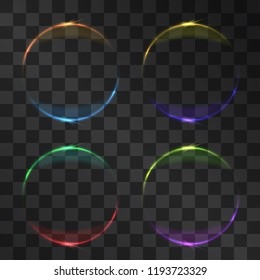 Eclipse miracle glowing vector effect set, dim star light, sun shining rays around planet silhouette. Astronomy phenomenon on transparent background. Light energy crown with illumination flares.