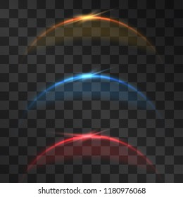 Eclipse miracle glowing vector spotlight effect set, dim light arc with sun rays shining halo. Astronomy phenomenon on transparent background. Neon curve flare, mystic design in outer space.