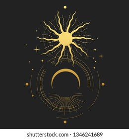 Eclipse. Sacred geometry. Abstract vector illustration