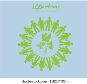 eco actions design over blue background vector illustration