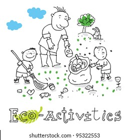 Eco activities; ecology and environment protection, vector drawing ; isolated on background.