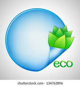 Eco background with green leaves and blue paper, vector illustration