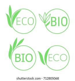 Eco bio emblem set isolated on white background. Stock vector illustration of ecology circle natural symbol.