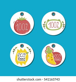 Eco and bio food labels set isolated on blue background. Natural farm products round price tags with cartoon vegetables characters. Eco friendly products concept. Vegetarian food diet