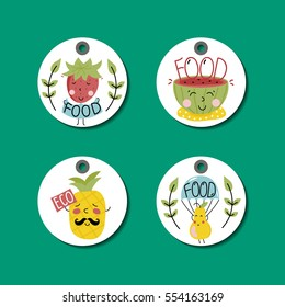 Eco and bio food round labels set isolated on green background. Natural farm products price tags with pineapple, strawberry, watermelon and pear cartoon characters. Eco friendly products