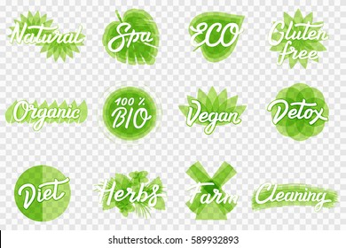 ECO, BIO Green Set with logo design elements, product emblems, farming and ecology concepts, healthy living style symbols. Lettering symbols on transparent background.