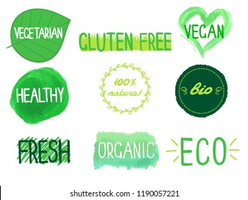 Eco and bio lables collection. Vector illustration