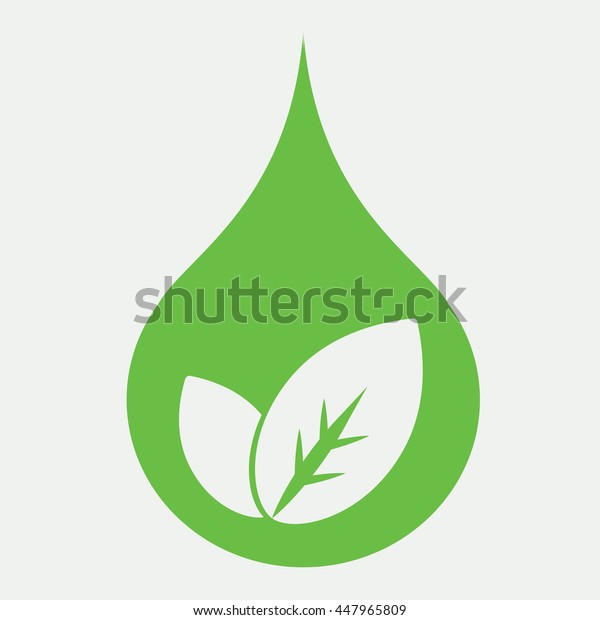eco bio leaves in drop of water green icon on white background
