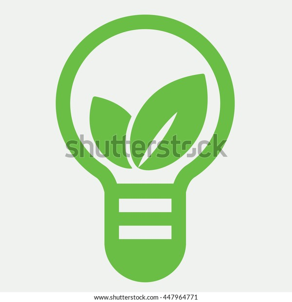 eco bio leaves in lamp idea icon on white background