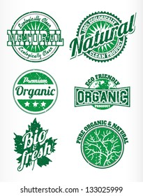 eco bio natural labels with removable grunge effect