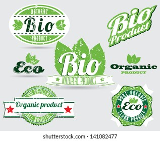 eco bio natural logos with removable grunge effect