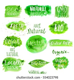 Eco, Bio, Organic, Gluten free, Natural, Vegan Lettering. Modern Hand Drawn Ecological Food Icons and Badges. Brush Calligraphy Creative Set.