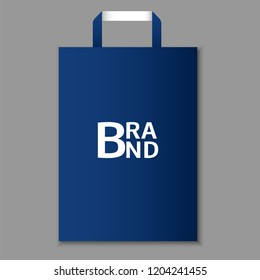 Eco blue hand bag icon. Realistic illustration of eco blue hand bag vector icon for web design