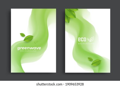 Eco brochure design with green fluid wavy shapes and leaves. vector template. Ecology Corporate poster template.