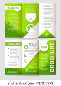 Eco Brochure. Forest Flyer. Nature Poster Template. Vector illustration