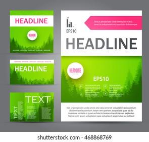 Eco Brochure Set. Forest Flyer. Nature Poster Template. Vector illustration
