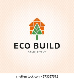 Eco Build logo design template. Vector real estate house logotype illustration isolated on background. Ecologic bio home icon symbol with trowel element, green tree sign, brick. Organic housing label