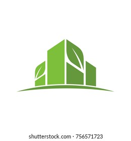 eco building tower vector logo.