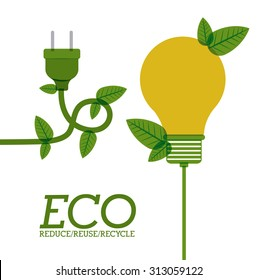 Eco bulb design over white background, vector illustration eps 10